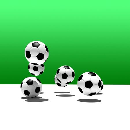soccer fields: soccer balls on green background Stock Photo