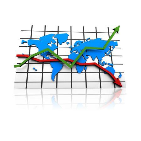 crisis in the world business market - illustration illustration