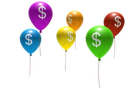holiday profits: multicolored balloons with dollar symbols - isolated on white