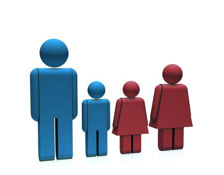 isolated family on white background Stock Photo - 5416320