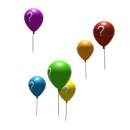 air bladder: balloons with question-mark symbols - isolated on white Stock Photo