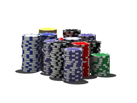 wagers: multicolor poker chips - isolated on white Stock Photo