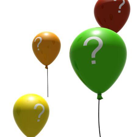 air bladder: variopinti palloncini con la domanda-simboli marchio - isolati su bianco Archivio Fotografico