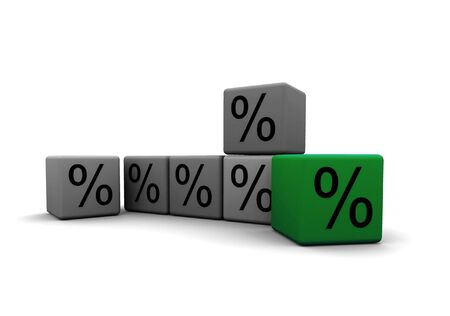 outsider: cubes with percent symbols - outsider - 3d illustration on white Stock Photo