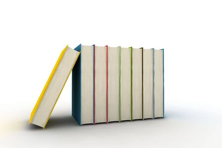 isolated books on white background - 3d render photo