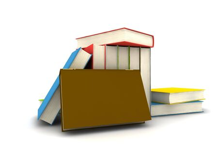 isolated books on white background - 3d render Stock Photo - 5431441