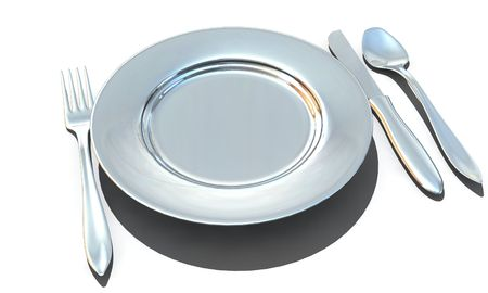 knife, fork, spoon and plate - isolated 3d render Stock Photo - 5463673