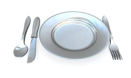 knife, fork, spoon and plate - isolated 3d render photo