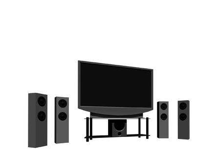 hdtv: home theater  high definition television with speakers - isolated 3d render Stock Photo
