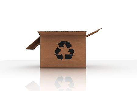 isolated cardboard with recycle symbol - photorealistic 3d render photo