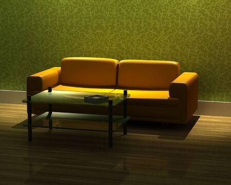 3d rendering modern sofa in living room photo