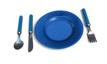 couteau fourchette cuill�re: couteau, la fourchette, la cuill�re et la plaque - isol�e de rendu 3d Banque d'images