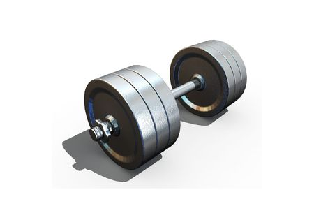 isolated dumbbell on white background - 3d render Stock Photo - 5615407
