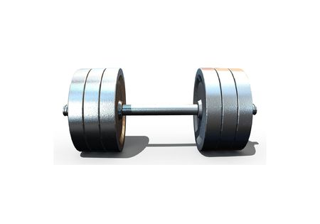 isolated dumbbell on white background - 3d render Stock Photo - 5615436