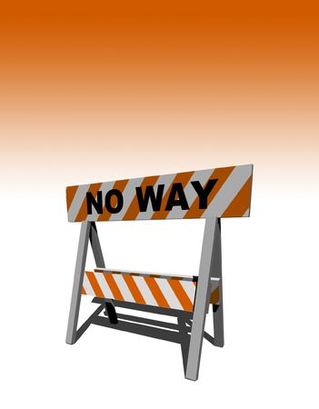 no way! - construction and caution sign - 3d illustration Stock Illustration - 5615411