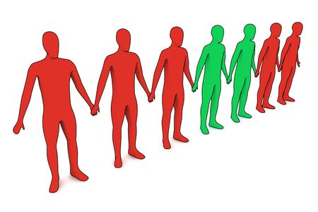people in line - outsiders - isolated illustration on white Banco de Imagens