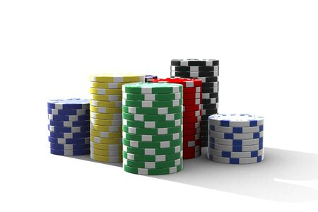 hold'em: multicolor poker chips - isolated on white Stock Photo