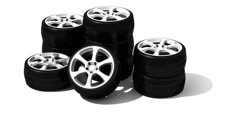 tyre tread: new wheels with steel rim - isolated 3d render on white Stock Photo
