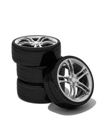 new wheels with steel rim - isolated 3d render on white Banco de Imagens