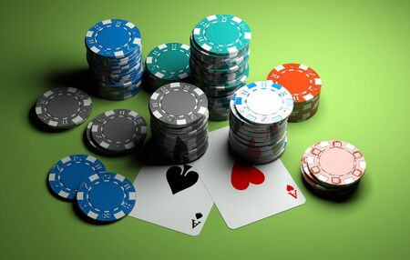 hold'em: poker chips with two aces on green casino table