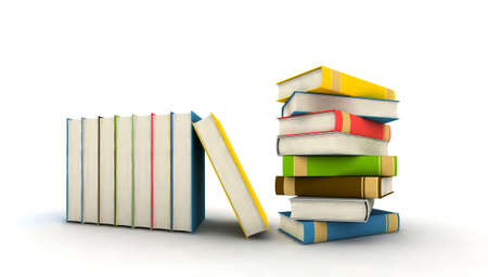 bales: isolated books on white background - 3d render Stock Photo