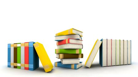 isolated books on white background - 3d render Stock Photo - 5748052