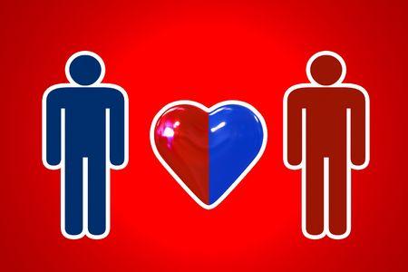 couple with heart symbol - illustration Stock Illustration - 5748064
