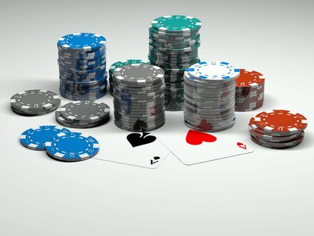 poker chips with two aces on table Stock Photo - 5872018
