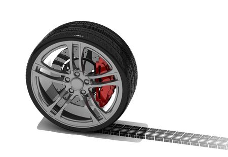 rims: new wheel with tyre track - isolated 3d render on white