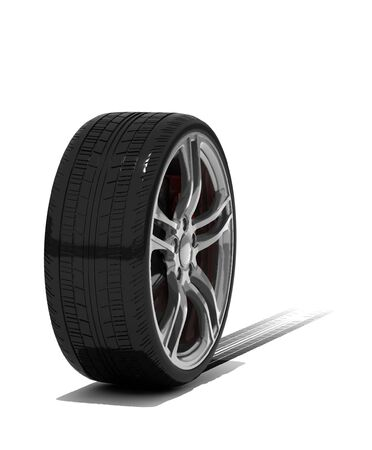 new wheel with tyre track - isolated 3d render on white photo