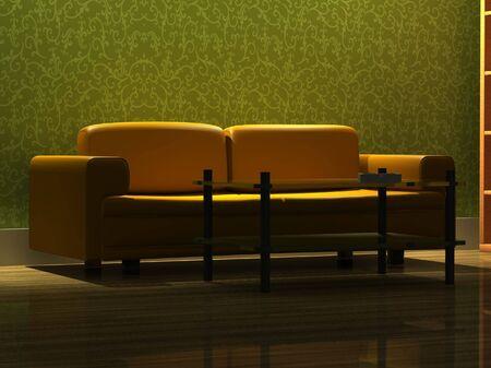 detailed 3d rendering modern sofa in living room photo
