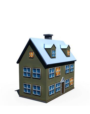 isolated big house - 3d render illustration on white Stock Illustration - 6017557