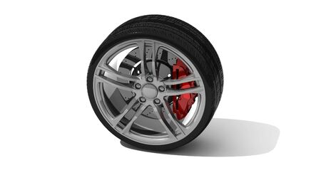 new wheel with steel rim - isolated 3d render on white photo