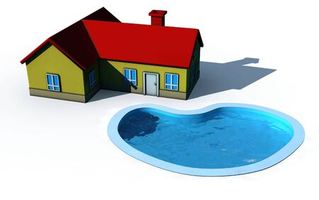 isolated house with swimming pool - 3d render illustration on white illustration