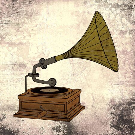 retro music - old gramophone with grunge background photo