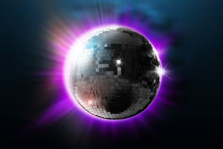 disco ball with lights - retro party background photo