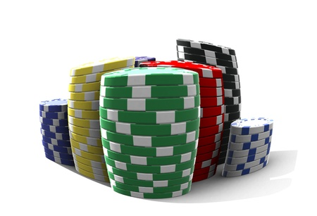 poker chips - isolated on white photo