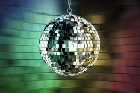 disco ball with lights - retro party background Stock Photo - 15689911