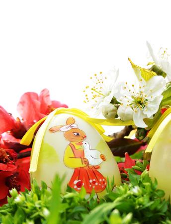 Easter egg in fresh green grass  photo