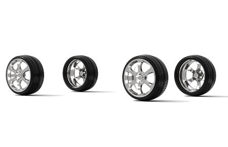 alloy wheel: Car wheels on white background - 3d illustration