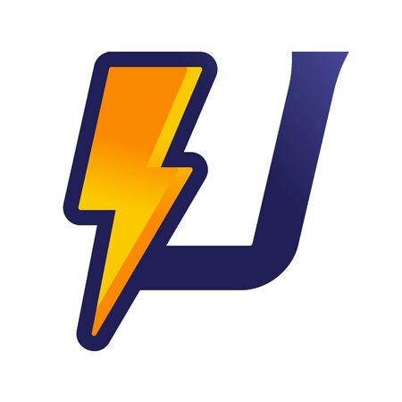 Bold and Strong design Initial U Combine with lightning.