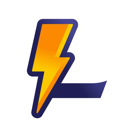 Bold and Strong design Initial L Combine with lightning.