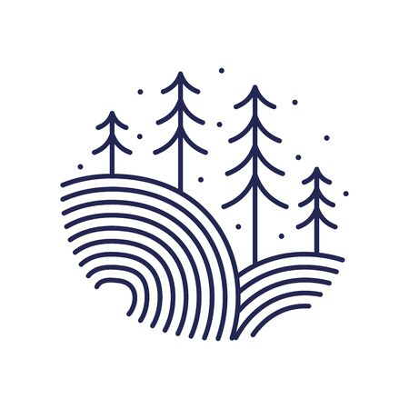 minimalist and clean logo design mono line landscape circle in navy color.