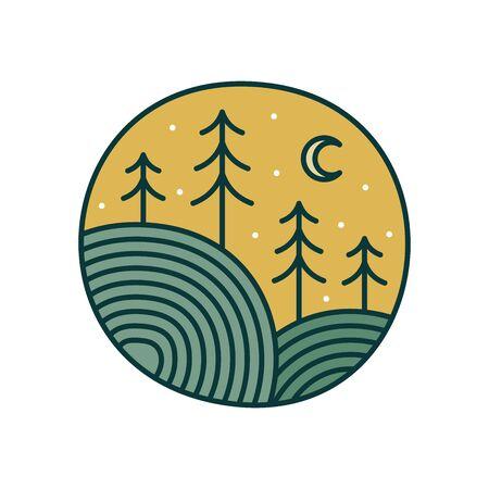 Minimalist illustration logo design colorful circle landscape.