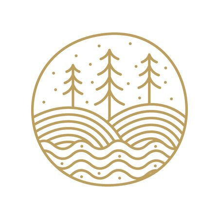 minimalist and clean logo design mono line landscape circle in gold version.