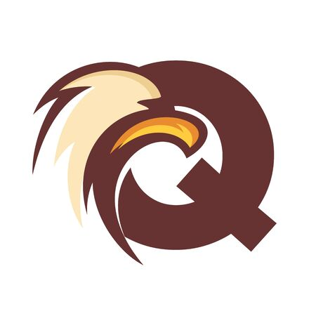 Strong and Bold illustration logo design initial Q combine with eagle head.
