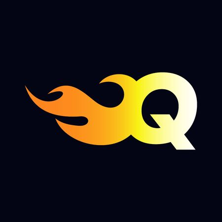 Strong and Bold logo design Initial letter Q combine with flame