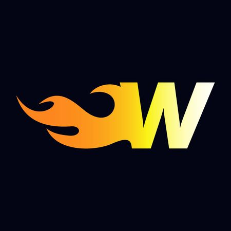 Strong and Bold logo design Initial letter W combine with flame