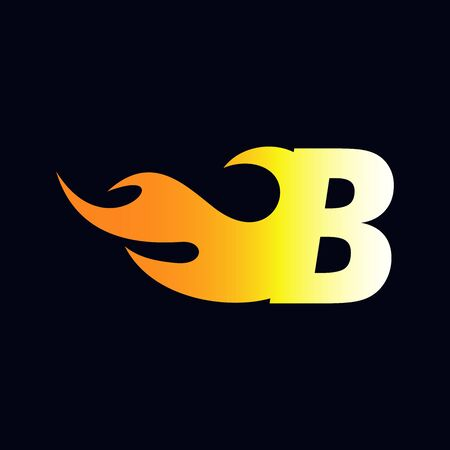 Strong and Bold logo design Initial letter B combine with flame Illustration