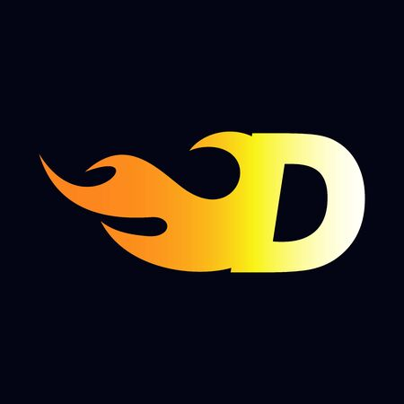 Strong and Bold logo design Initial letter D combine with flame